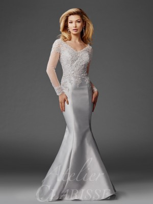 Clarisse Atelier M6436 Long-Sleeve Mother of the Bride Dress