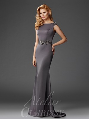Clarisse Atelier M6447 Open V-Back Mother of the Bride Gown