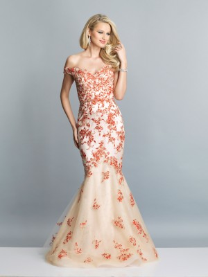 Dave and Johnny A7349 Off-The-Shoulder Prom Gown