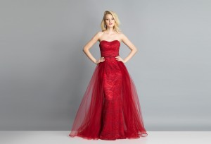 Dave and Johnny A7402 Strapless with Overskirt Long Party Dress