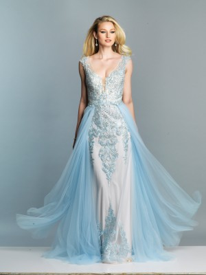 Dave and Johnny A7485 Plunging V-Neck with Overskirt Long Party Dress