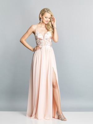 Dave and Johnny A7628 Lace Applique Formal Dress