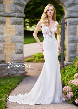 Enchanting by Mon Cheri 118138 Illusion Back Beach Wedding Dress