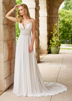Enchanting by Mon Cheri 118146 Spaghetti-Strap Destination Wedding Gown