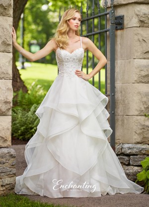 Enchanting by Mon Cheri 118156 Handkerchief Skirt Casual Wedding Gown