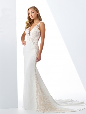 46e6f0116c8 Enchanting by Mon Cheri 119125 Plunging Neck Casual Bridal Gown