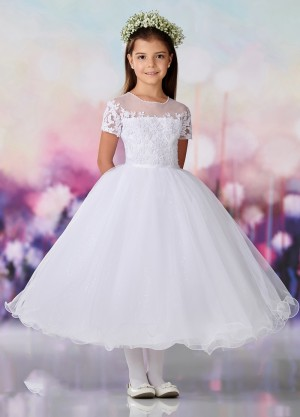 308f944fd4cb7 Joan Calabrese 119396 Floral Belt First Communion Dress. $138.00. Joan  Calabrese - Dress Style 119375