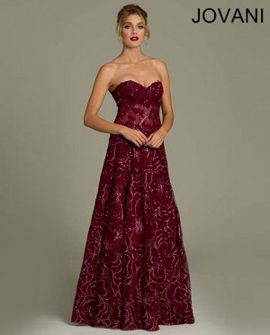 Jovani 14913 Strapless Sweetheart Exposed Boning Floral Embroidery