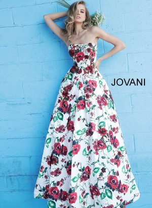 Jovani 49918 Strapless Floral Formal Dress