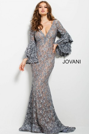 Jovani 57048 Bell-Sleeve Evening Dress