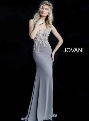 Jovani 60192 Open V-Back Evening Dress