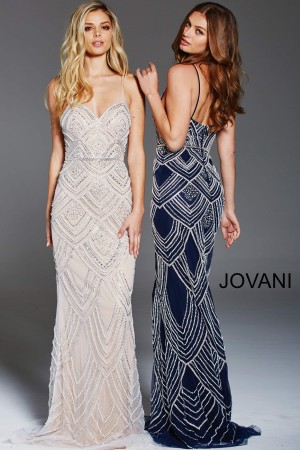 dd38efcdf6b Jovani 60653 Geometric Beaded Long Party Dress