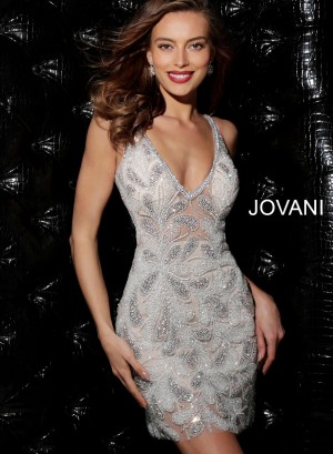 Jovani 61292 V-Neck Beaded Dress