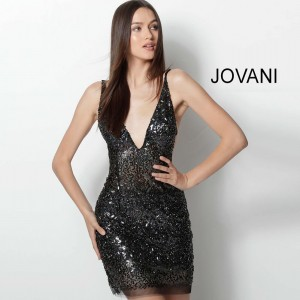 Jovani 61998 Plunging Neck Short Party Dress