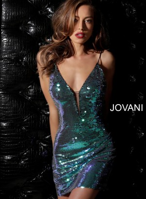 Jovani 63475 Spaghetti Strap Sequin Cocktail Dress