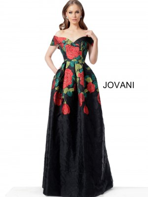 590bfc0b8 Jovani 64271 Off The Shoulder Floral Evening Gown