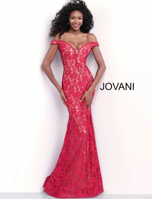 Jovani 67304 Off-The-Shoulder Lace Prom Dress