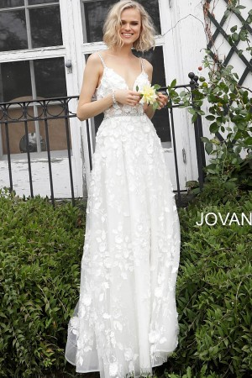 ee630e265a Jovani JB63363 Floral Embroidered Simple Wedding Dress