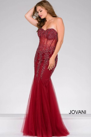 Jovani 5908 Strapless Corset Top Sheer Midriff Basque Waist Godet Trumpet Skirt Mermaid Silhouette