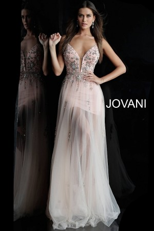 Jovani 55621 Plunging Neckline Formal Dress with Overskirt