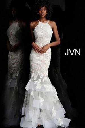 Jovani JVN55908 Tiered Skirt Prom Gown
