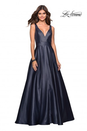 c94c6475c4 La Femme 27202 V-Neck with Pockets Formal Gown