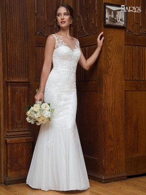 Simple casual and informal wedding dresses marys bridal mb1004 illusion neckline wedding gown junglespirit Choice Image