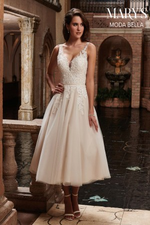 Marys Bridal MB2023 Tea-Length Wedding Gown