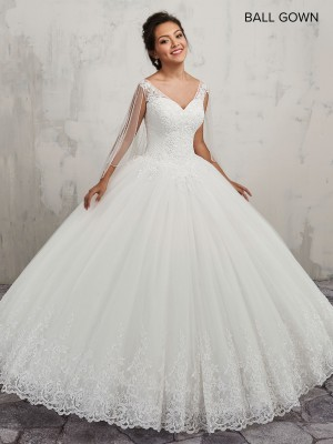 Marys Bridal MB6016 V-Neck Quince Gown with Detachable Cape