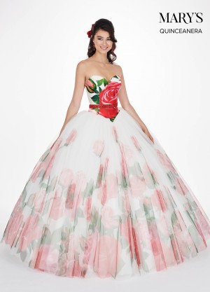 0f6abed692b Marys Bridal MQ1030 Floral Print Quinceanera Dress