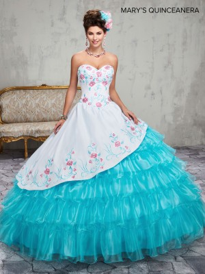 Marys Bridal MQ2015 Floral Embroidered Sweet 16 Gown