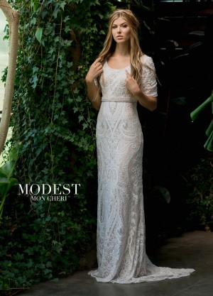 Modest Bridal by Mon Cheri TR11833 Short-Sleeve Wedding Dress