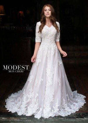 Modest Bridal by Mon Cheri TR11835 Elbow-Length Sleeves Wedding Gown