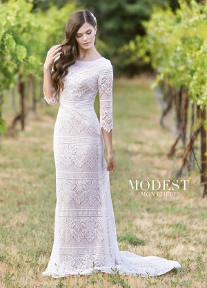 Modest Bridal by Mon Cheri TR11840 Sabrina Neckline Bridal Dress