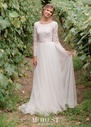 f04d66d6a0 Modest Bridal by Mon Cheri TR11976 Lace Top Wedding Gown