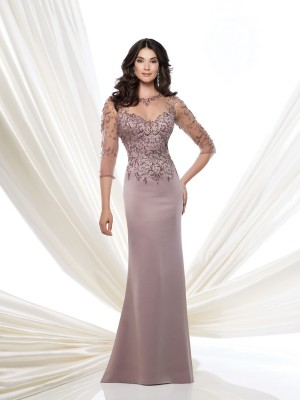 Montage 115973 Beaded Bodice Keyhole Back Fit And Flare