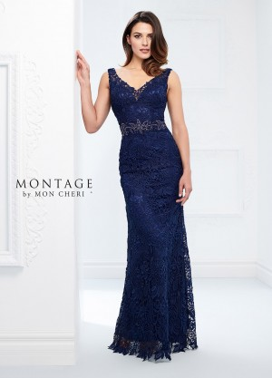 Montage by Mon Cheri 118968 V-Neck Evening Gown with Detachable Sleeves