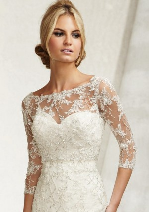 Mori Lee 11014 Lace Embroidered Bateau Neck Bridal Jacket