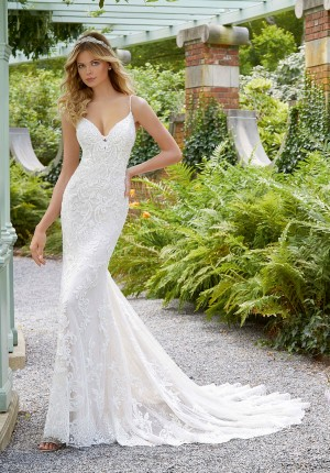 5b4d18ea00 Mori Lee 2033 Perdita Beaded Spaghetti Straps Bridal Dress