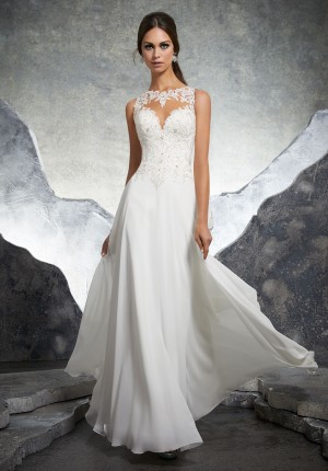 Bridal dresses and beautiful wedding gowns for bridal happiest day mori lee 5606 keisha illusion neckline a line wedding gown junglespirit Image collections