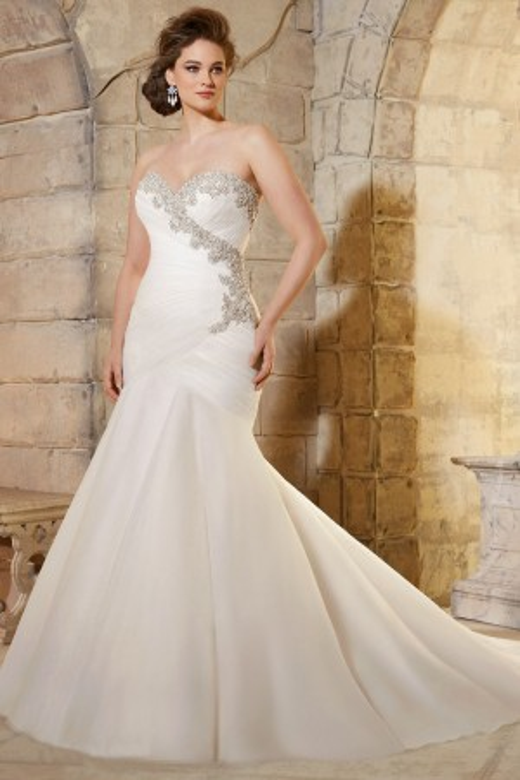 Mori Lee Julietta 3187 Dress Net Pleated Wrap Sweetheart Bodice Fit-and-Flare