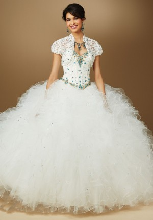 Mori Lee Vizcaya 89051 Quinceanera Dress Lace Corset Bodice Ruffle Skirt