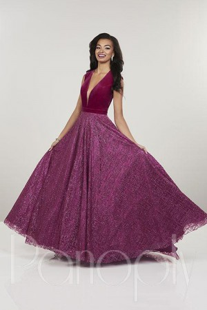 8344a4b537ea Panoply 14911V Plunging Neck Prom Dress