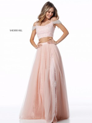 Sherri Hill 51771 Cold-Shoulder 2 Piece Prom Dress