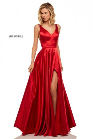 82cade7794 Sherri Hill 52410 V-Neck High Slit Formal Dress