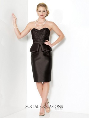 Social Occasions 215822 Two-Piece Mikado Dress Strapless Sweetheart Neckline