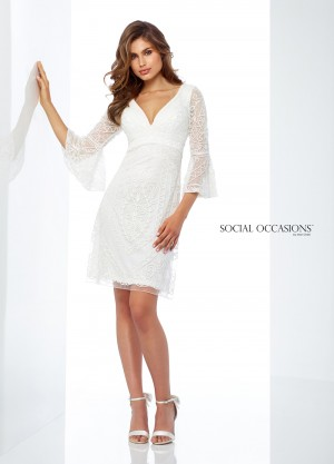 Social Occasions by Mon Cheri 118863 Bell-Sleeve Evening Short Dress