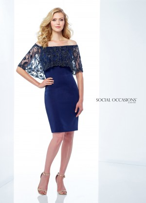 Social Occasions by Mon Cheri 118866 Off-The-Shoulder Formal Short Dress
