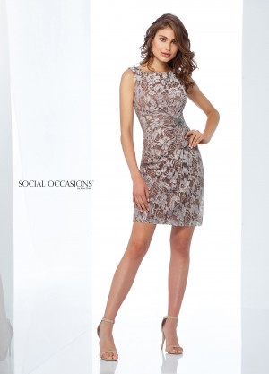 Social Occasions by Mon Cheri 118868 Fitted Lace Formal Short Dress
