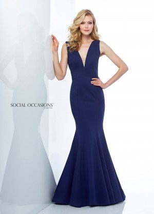 Social Occasions by Mon Cheri 118877 Plunging V-Neckline Formal Gown